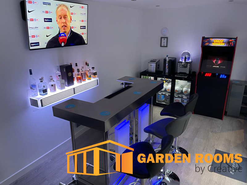garden room with bar installed by garden rooms by creative